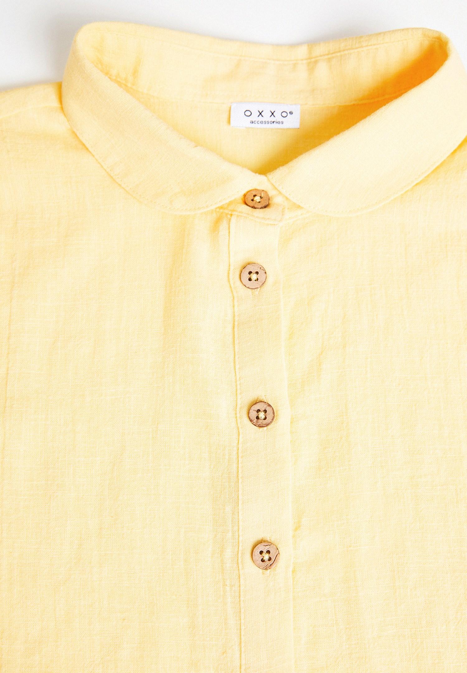 Women Yellow Linen Mock Shirt