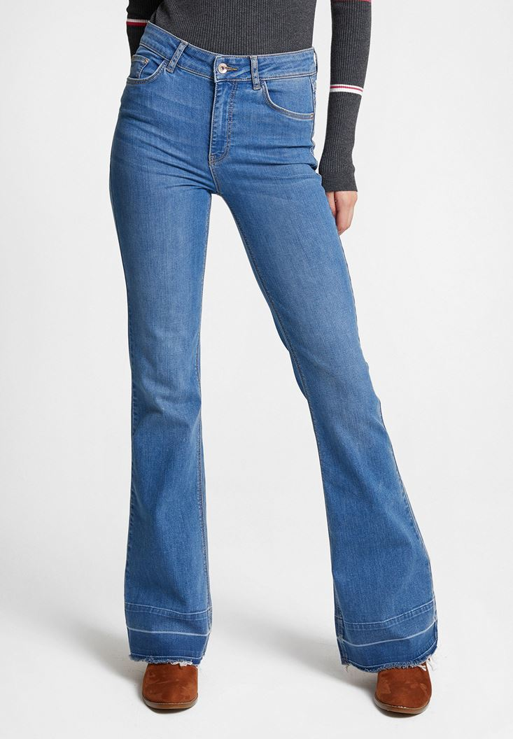 Mavi Yırtmaç Detaylı Flare Denim Pantolon