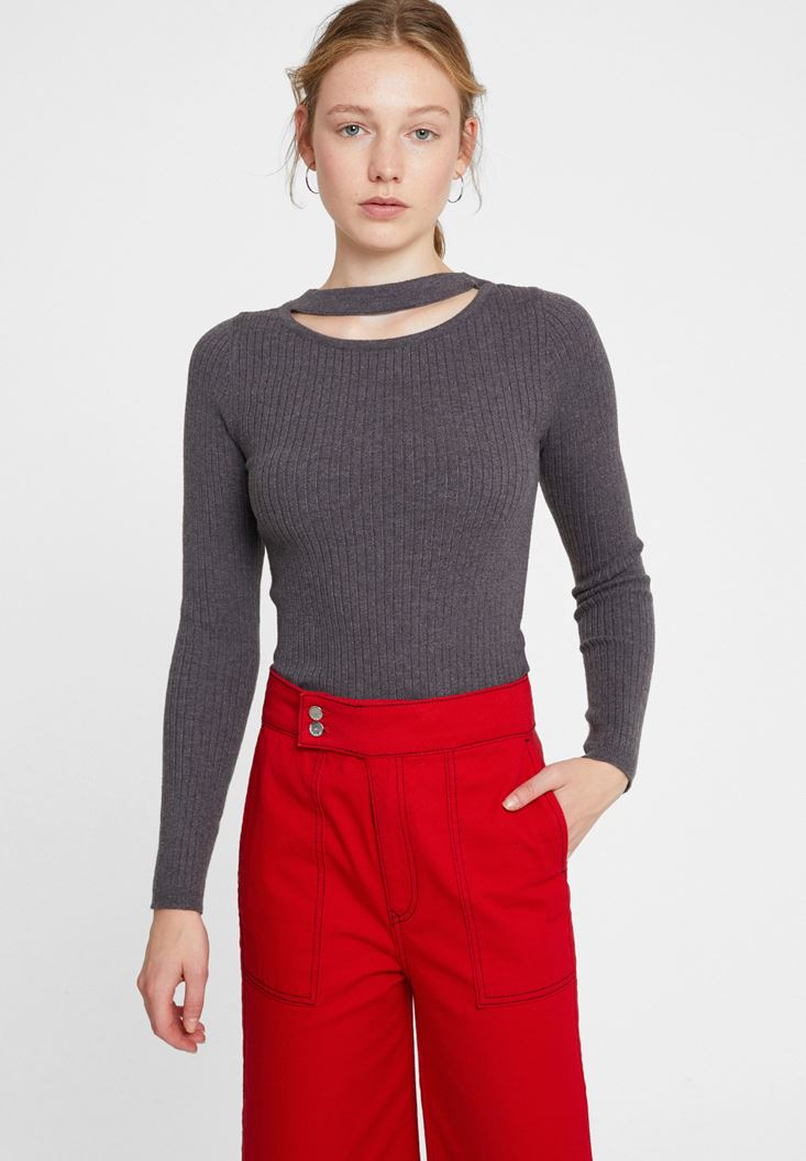 Grey Long Sleeve Knitwear with Cut-Out Detail