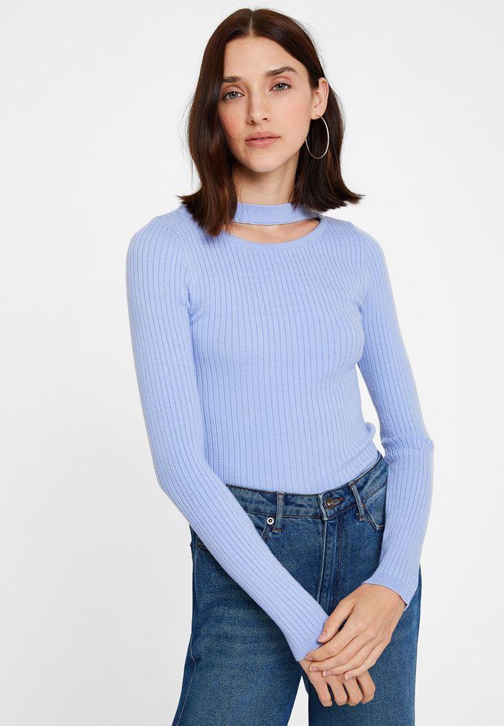 Mavi Cut-Out Detaylı Uzun Kollu Triko