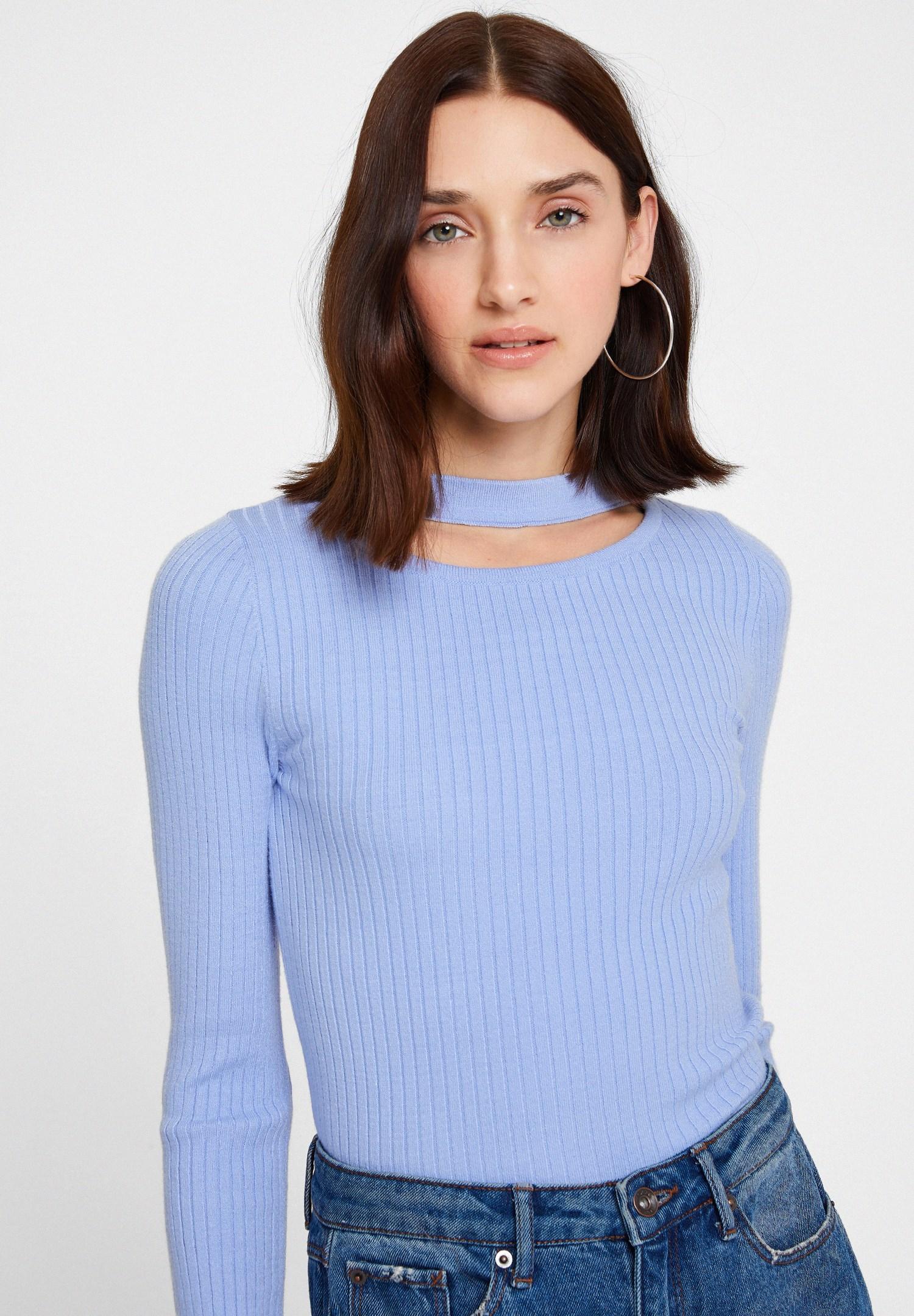 Bayan Mavi Cut-Out Detaylı Uzun Kollu Triko