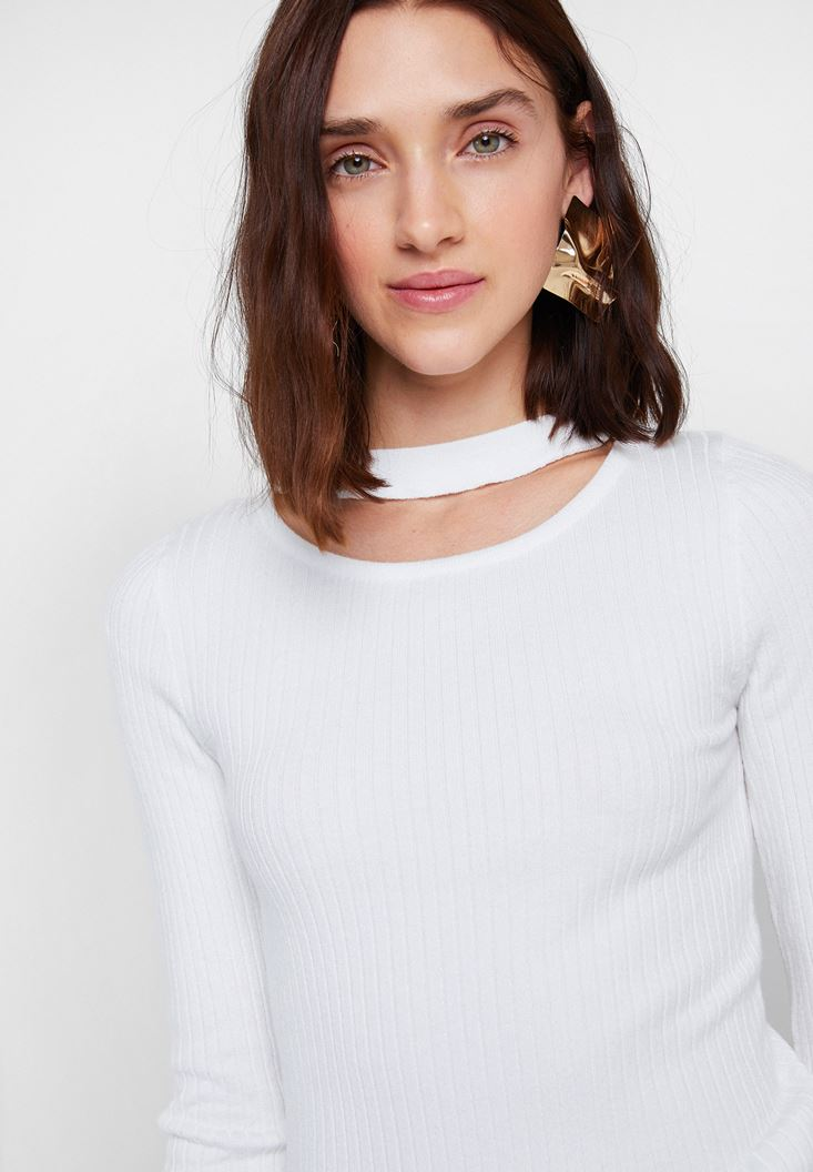 Cream Long Sleeve Knitwear with Cut-Out Detail