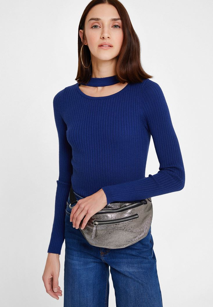 Navy Long Sleeve Knitwear with Cut-Out Detail