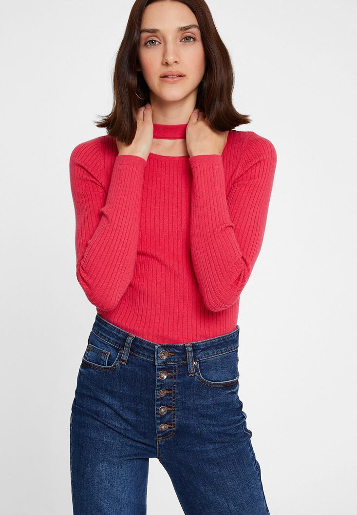 Pink Long Sleeve Knitwear with Cut-Out Detail