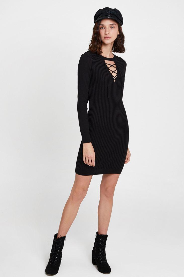 Siyah Lace Up Detaylı Triko Elbise