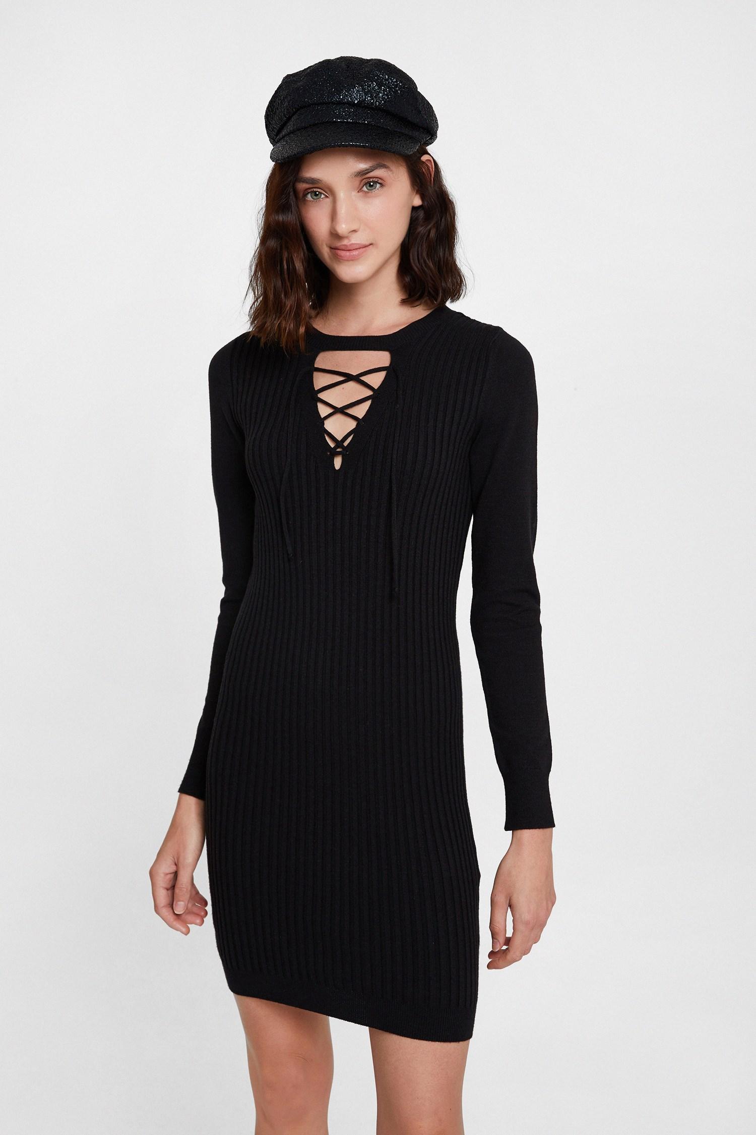 Bayan Siyah Lace Up Detaylı Triko Elbise
