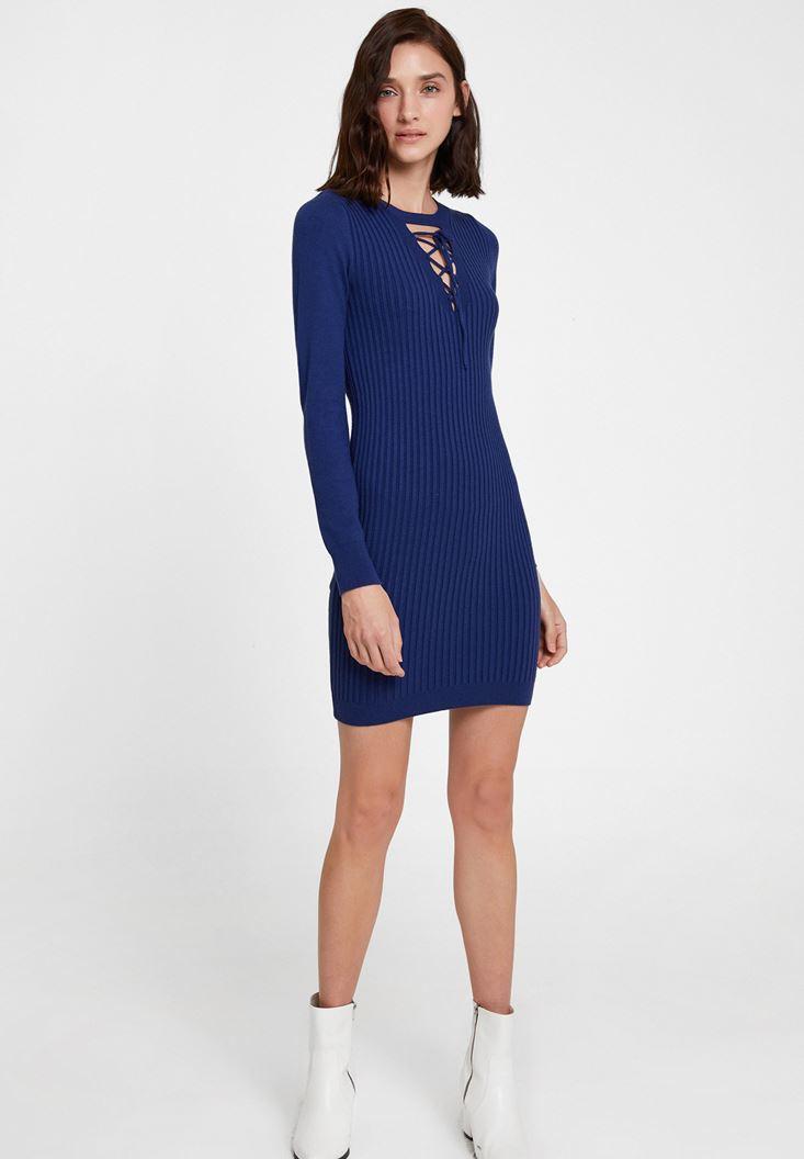 Lacivert Lace Up Detaylı Triko Elbise