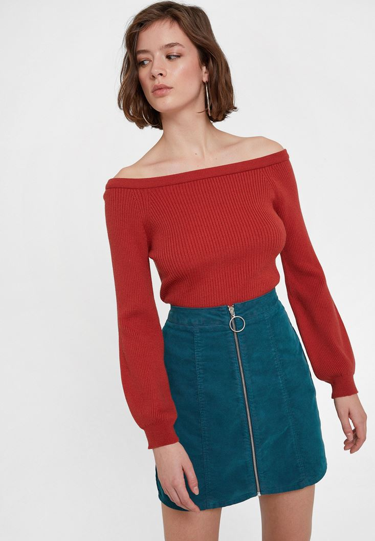 Red Long Sleeve Pullover with Neck