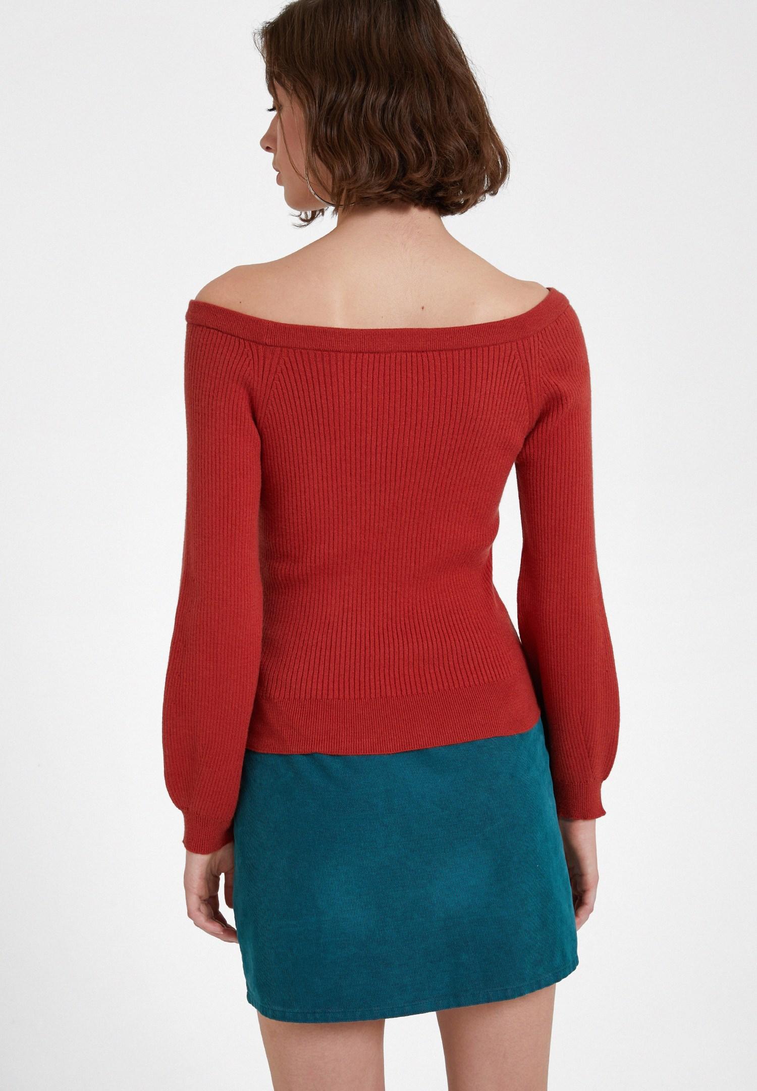 Bayan Kırmızı Uzun Kollu Yakası Detaylı Triko