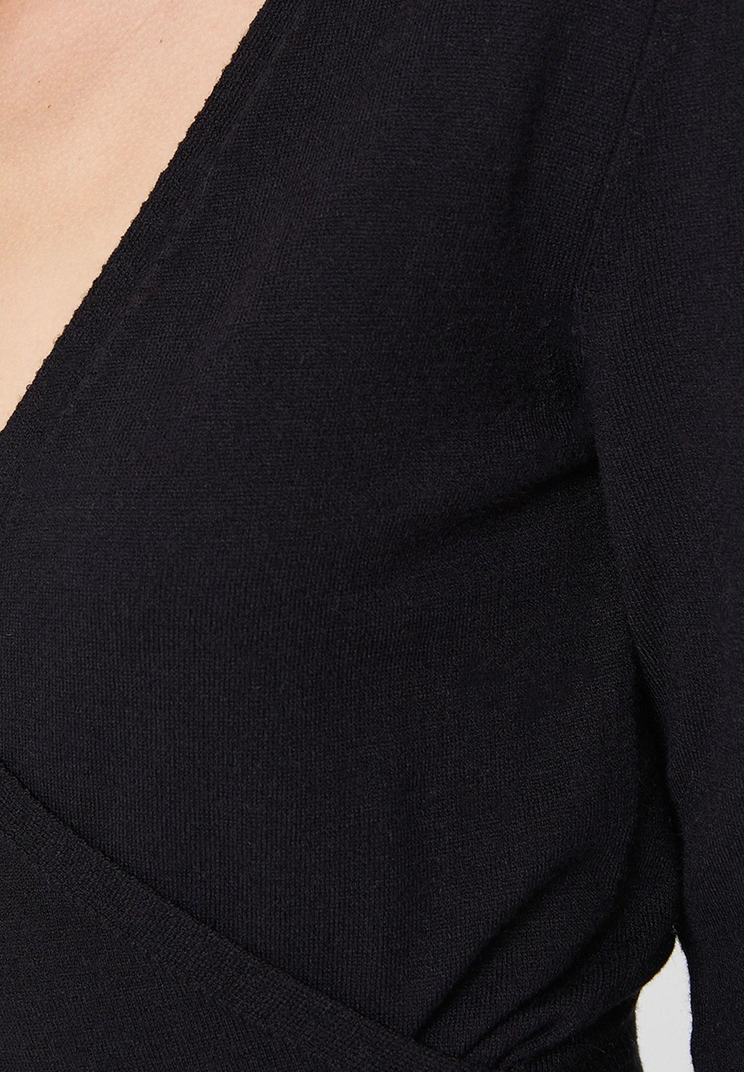 Bayan Siyah Uzun Kollu Kruvaze Triko