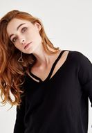 Women Black Knitwear with Neck Details