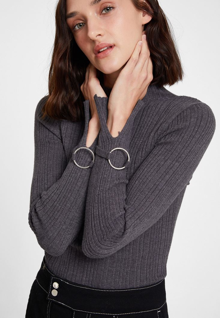 Grey Long Sleeve Roll Neck Knitwear