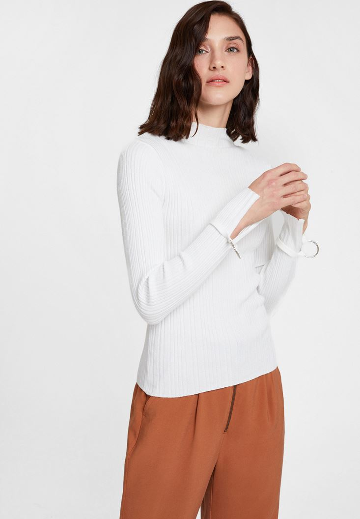 Cream Long Sleeve Roll Neck Knitwear