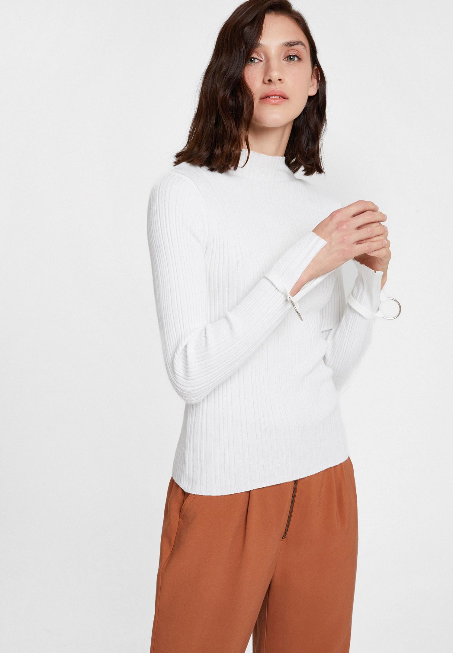 Women Cream Long Sleeve Roll Neck Knitwear