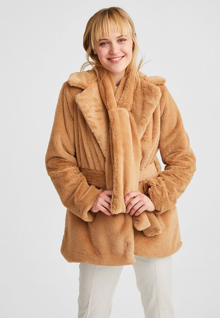 Brown Belted Foux Fur Coat