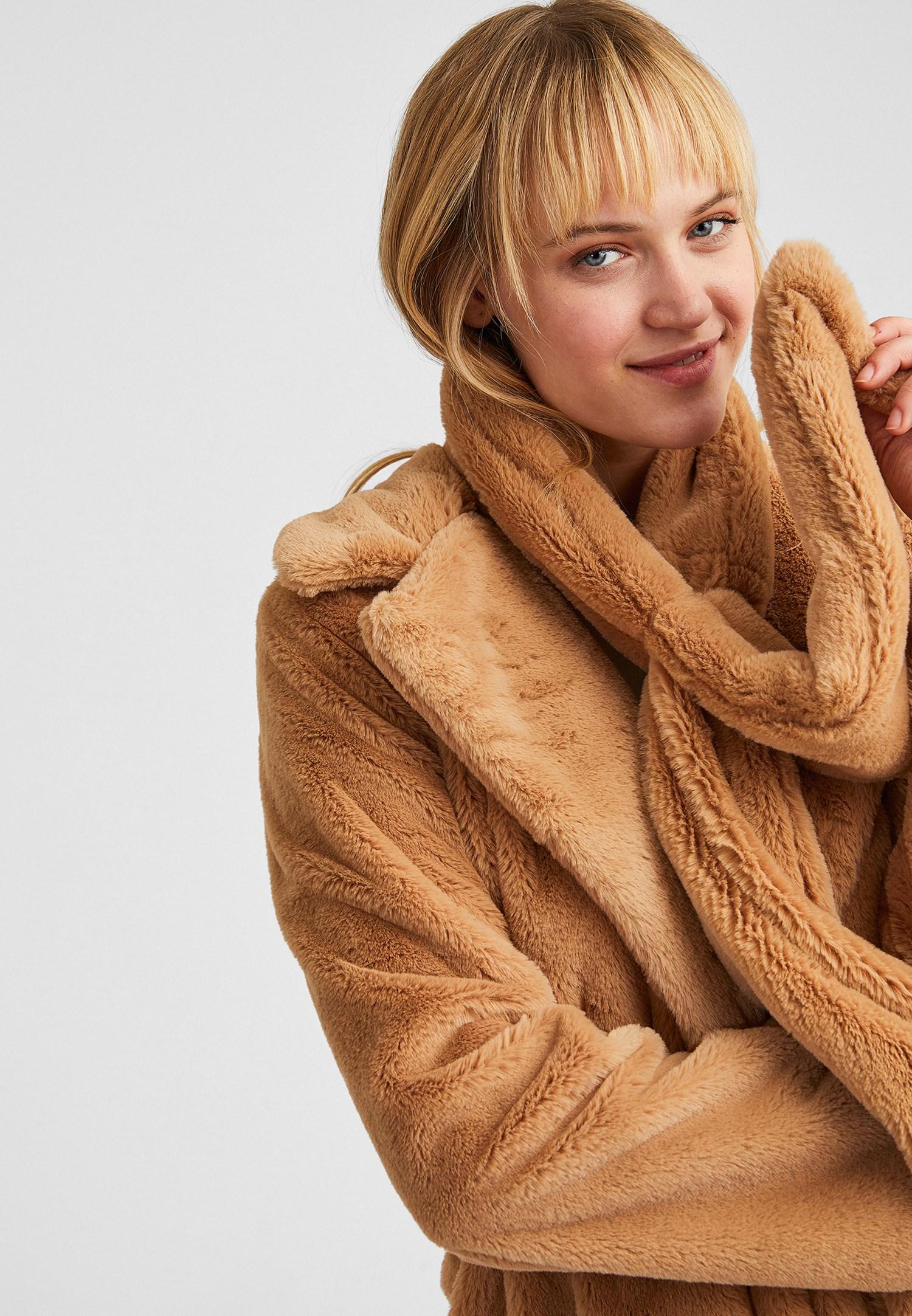 Bayan Kahverengi Bağlamalı Kürk Ceket