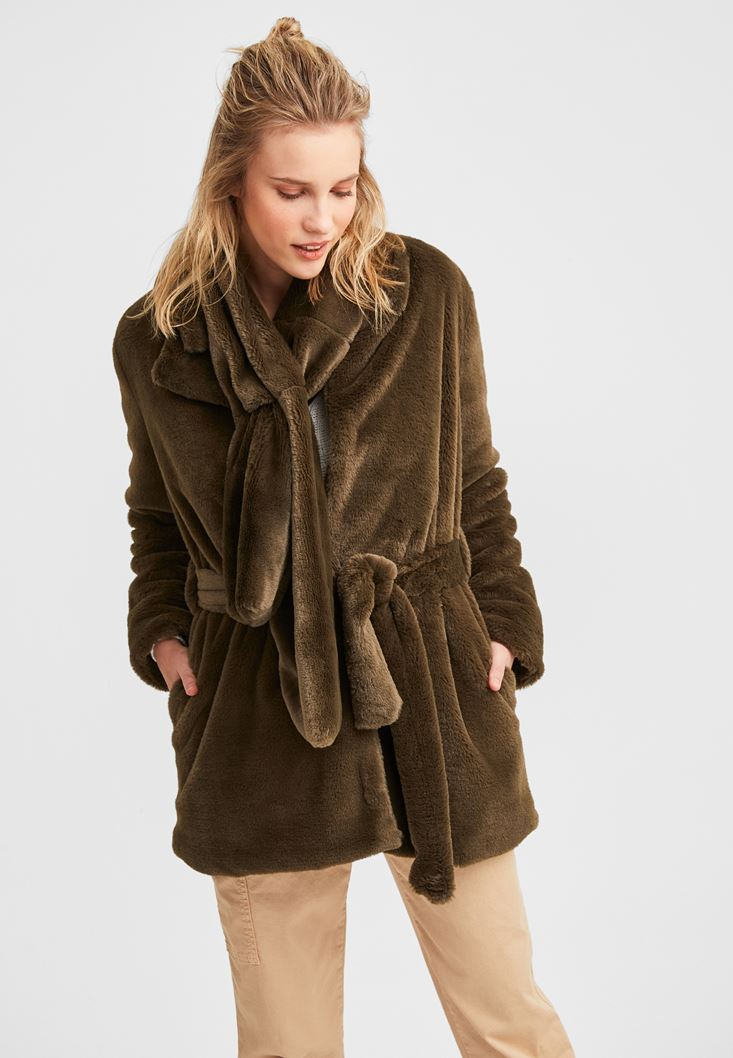 Green Belted Foux Fur Coat