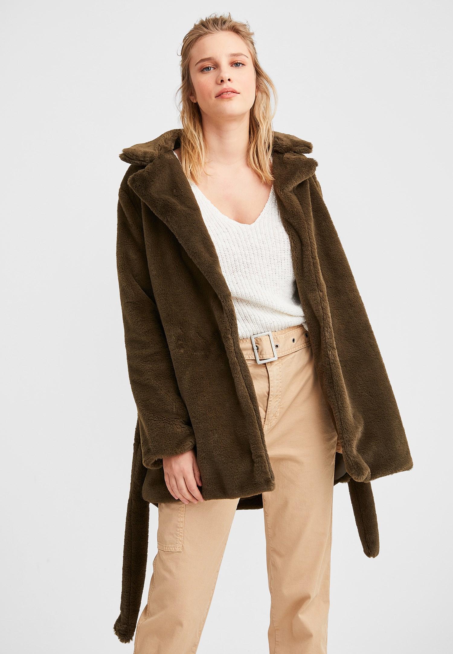 Bayan Yeşil Bağlamalı Kürk Ceket