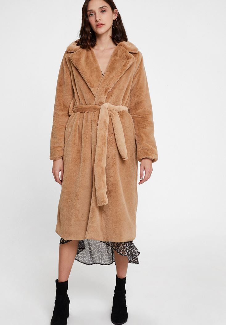Brown Faux Fur Coat with Belt