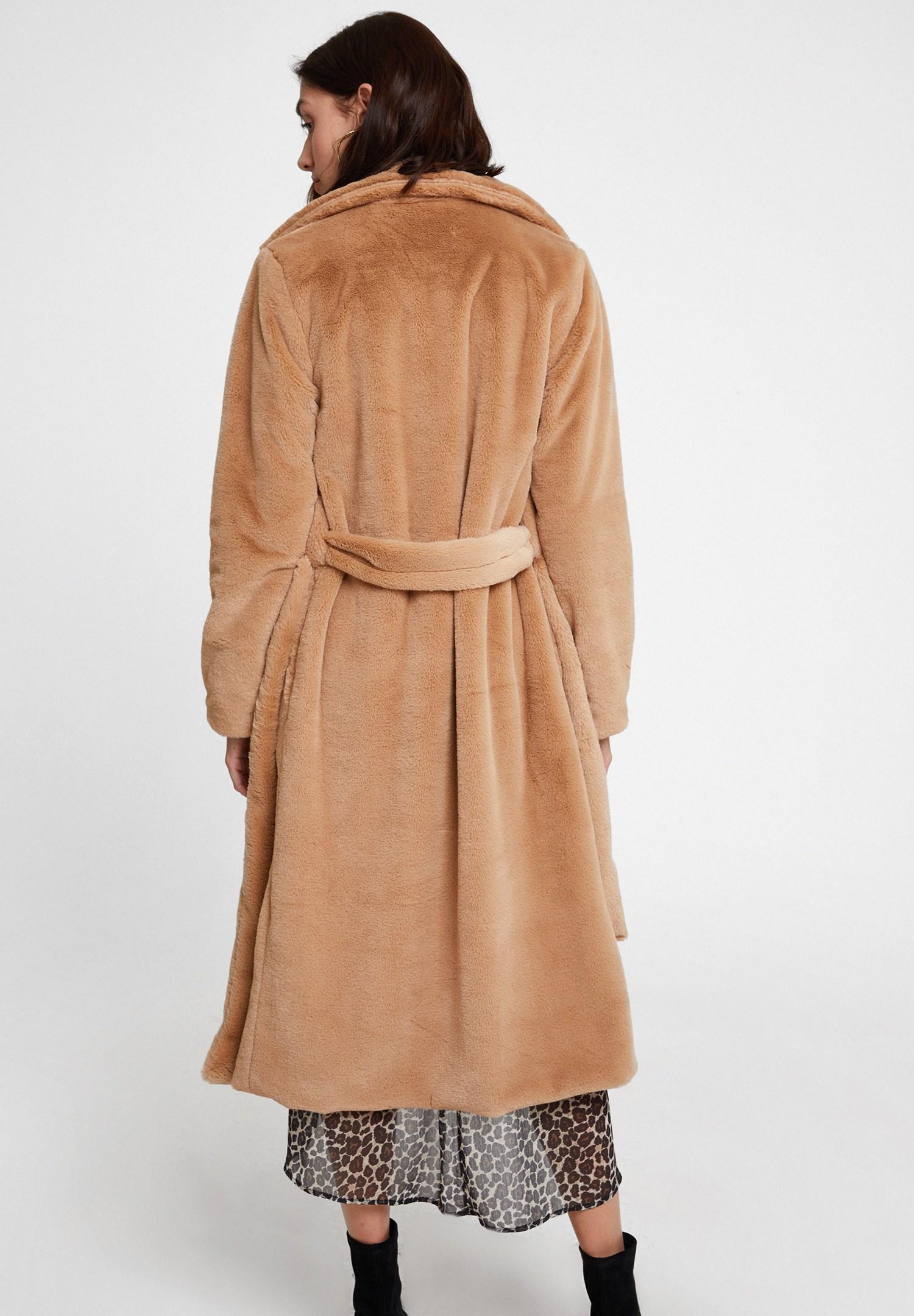 Women Brown Faux Fur Coat with Belt
