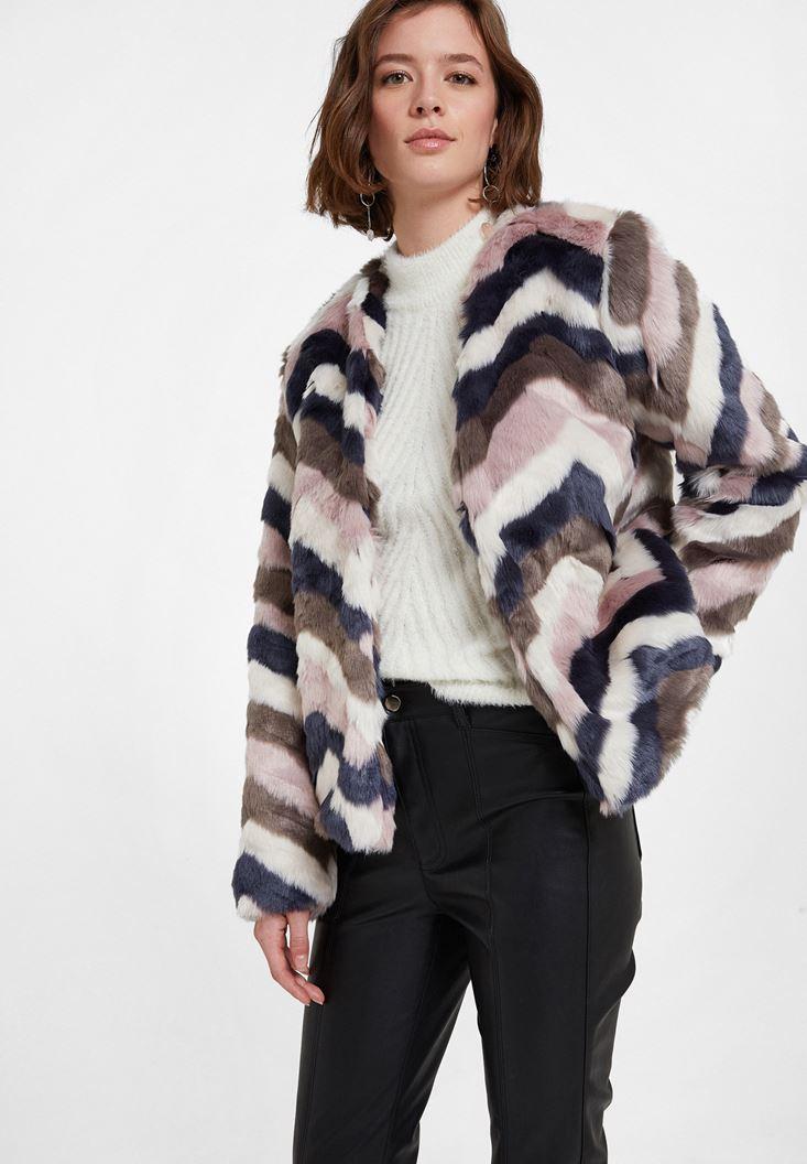 Karışık Renkli Suni Kürk Ceket
