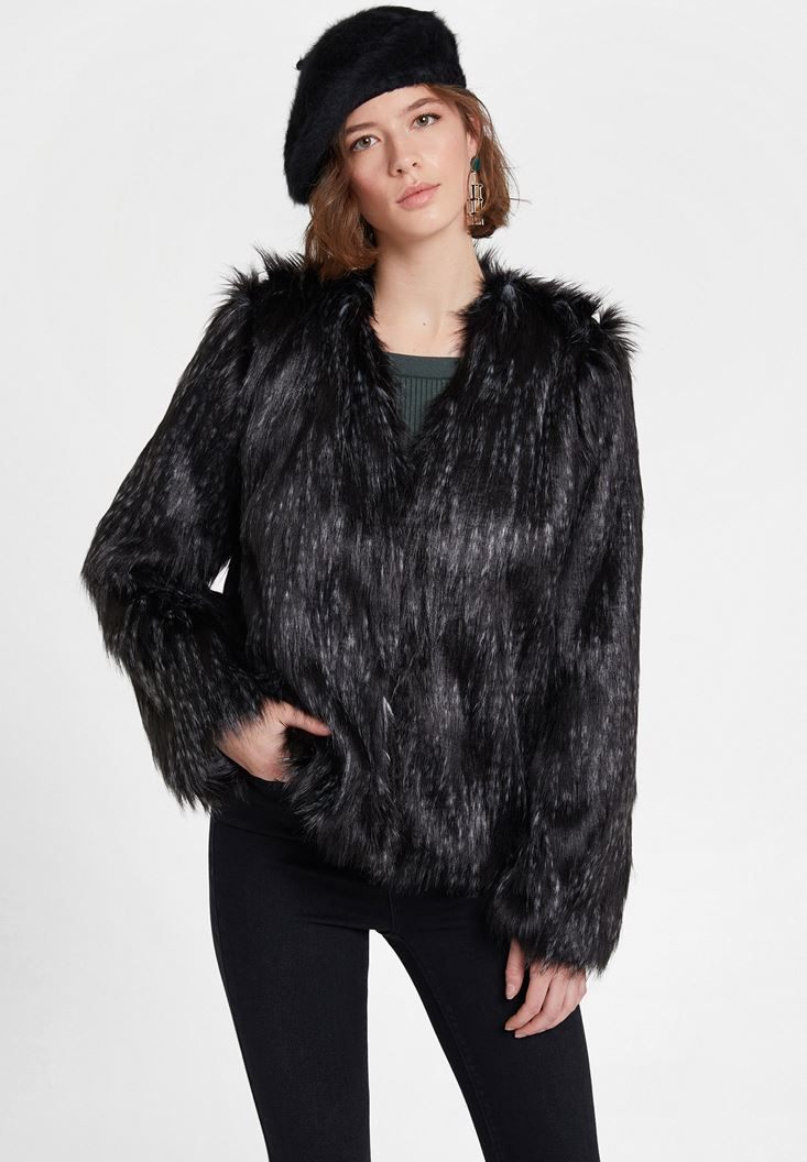 Black Faux Fur Jacket with Details