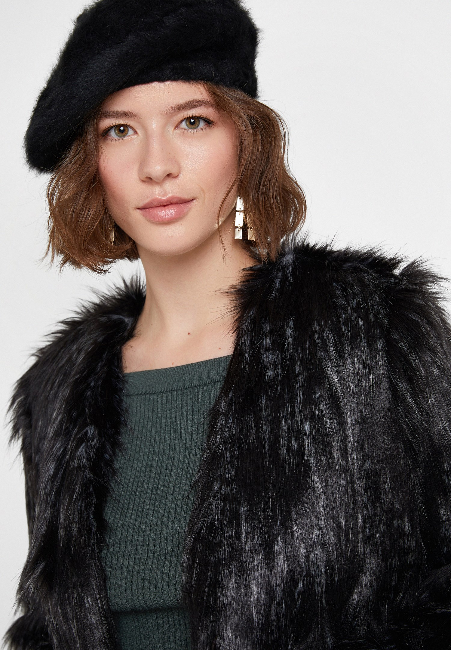 Women Black Faux Fur Jacket with Details