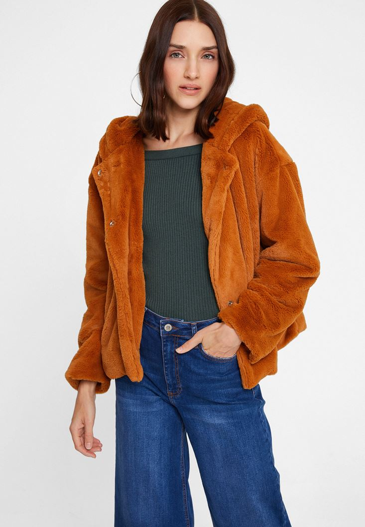 Brown Faux Fur Jacket with Hoodie