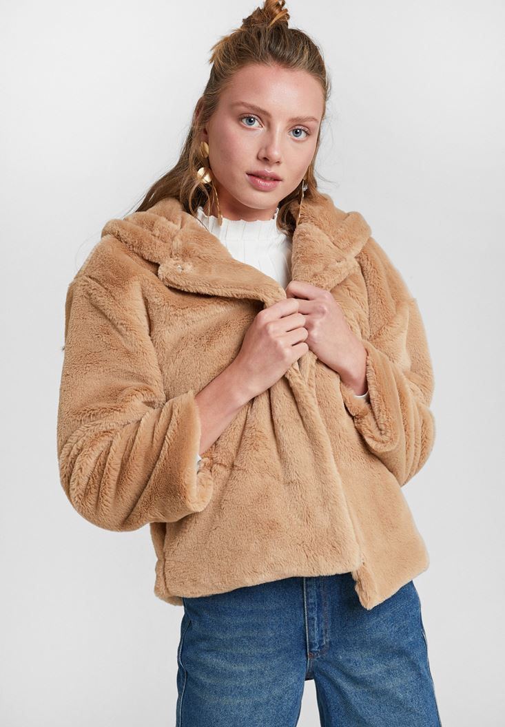 Faux Fur Jacket with Hoodie