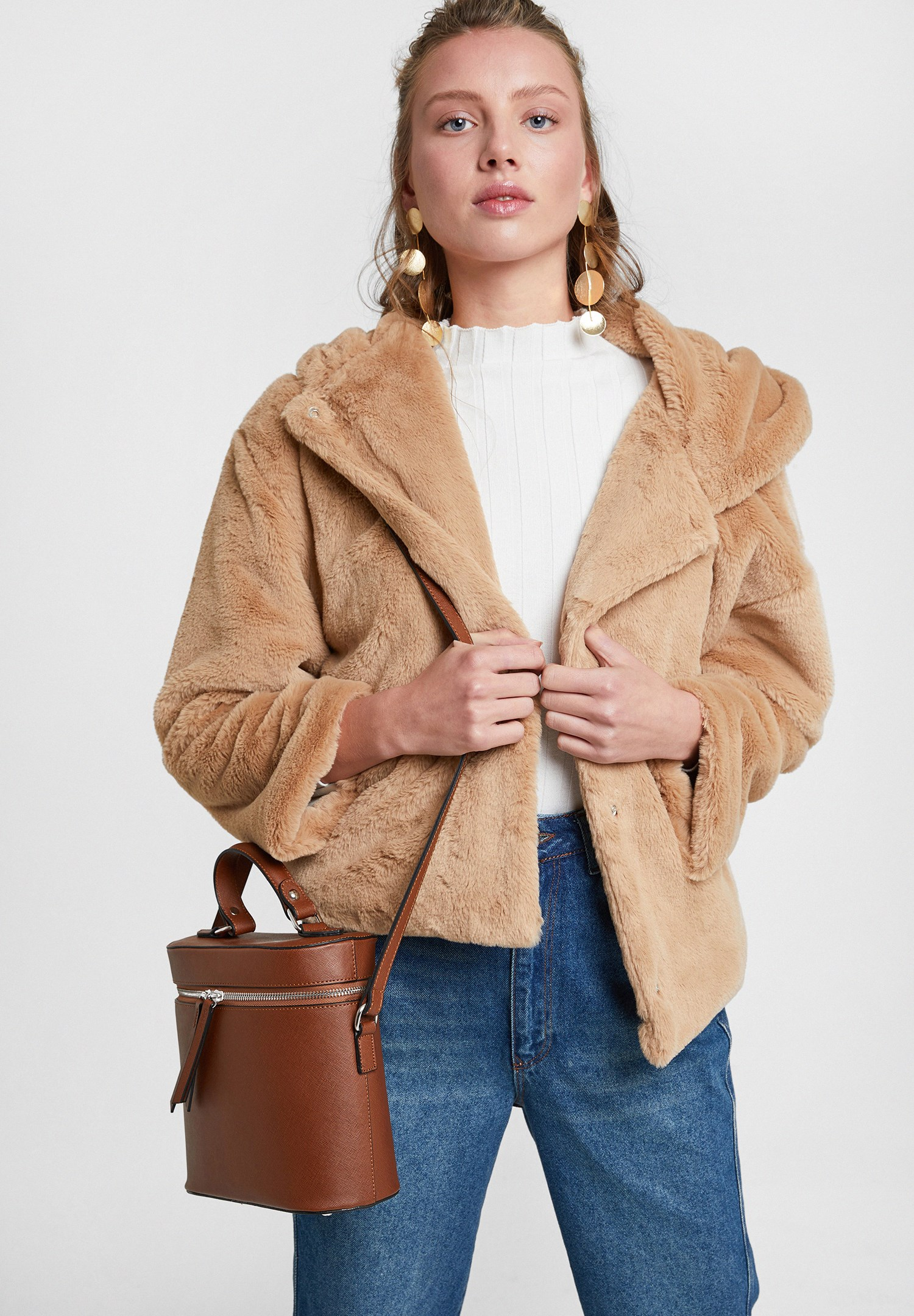 Women Brown Faux Fur Jacket with Hoodie