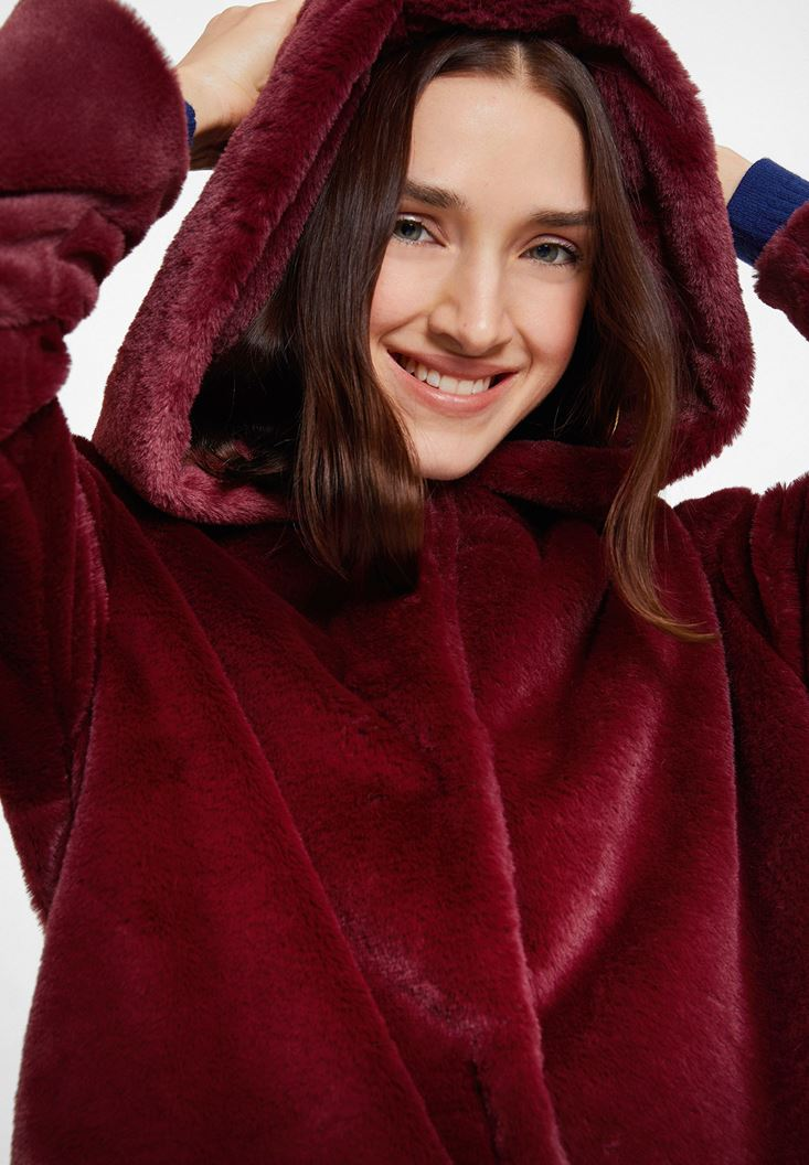Bordeaux Faux Fur Jacket with Hoodie