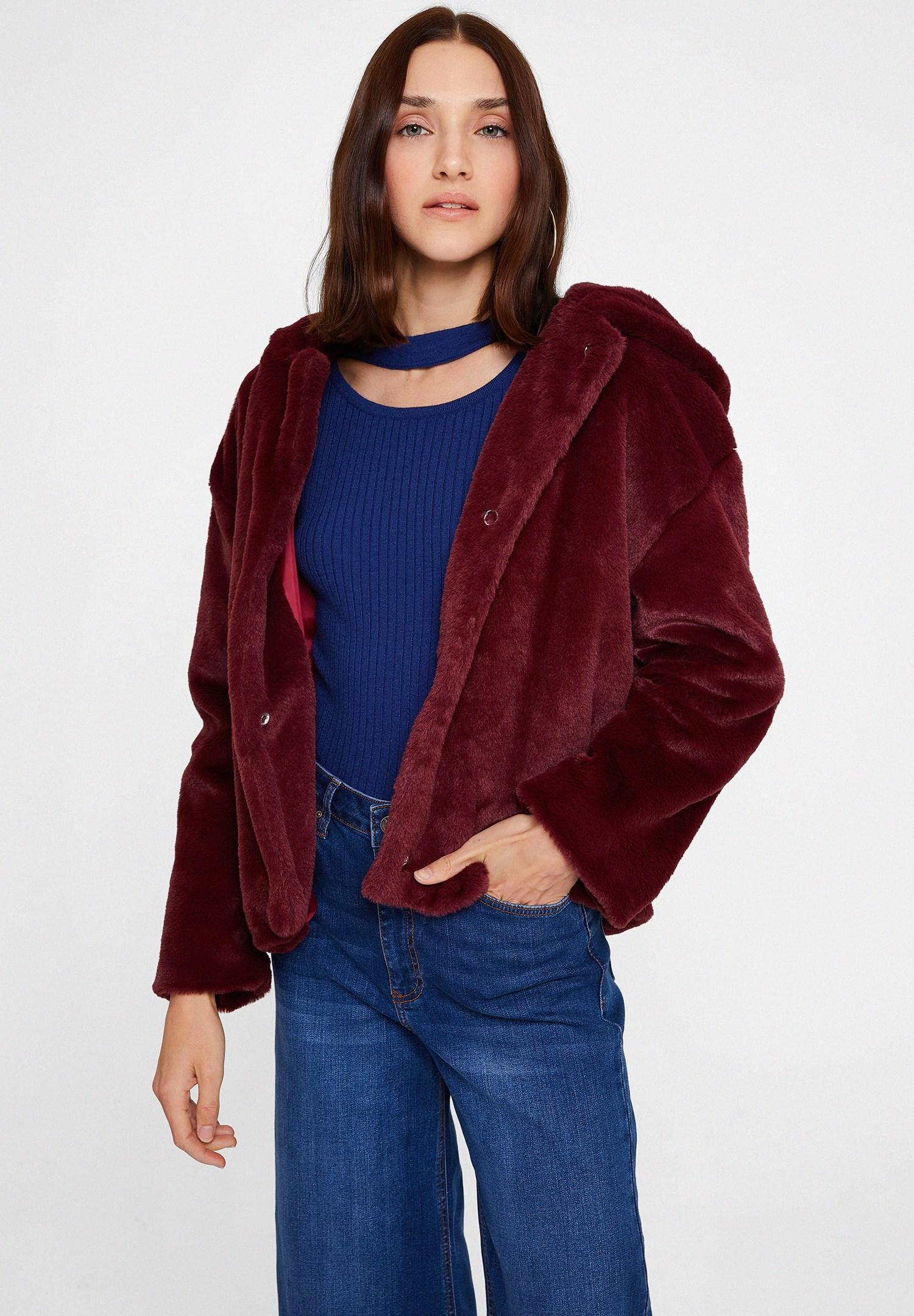 Bayan Bordo Suni Kürk Kapüsonlu Ceket