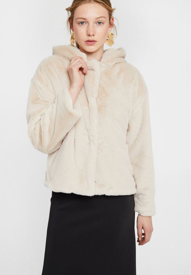 Cream Faux Fur Jacket with Hoodie