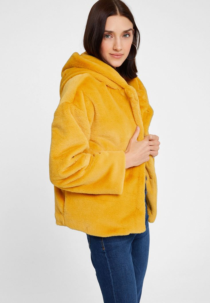 Yellow Faux Fur Jacket with Hoodie