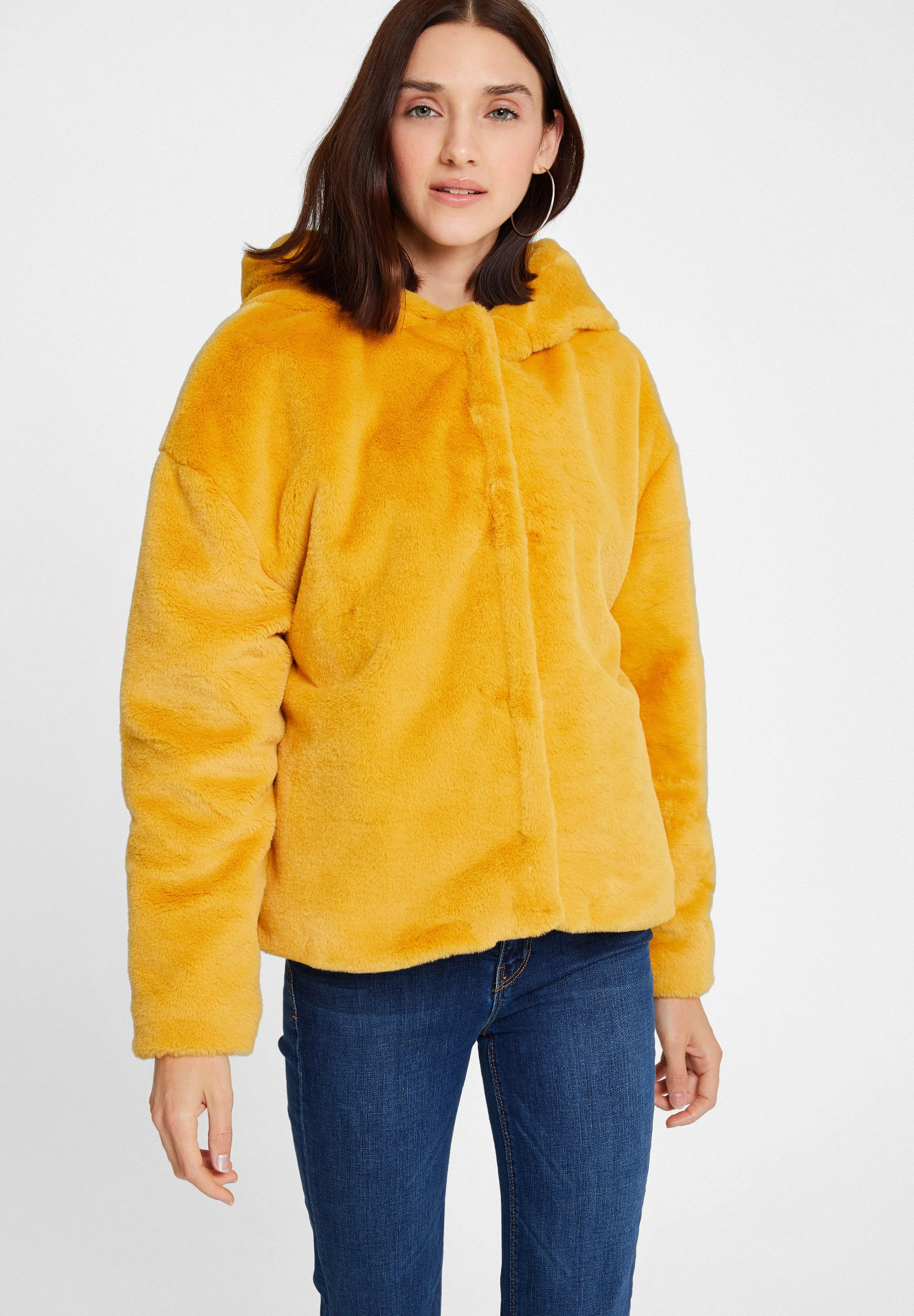 Women Yellow Faux Fur Jacket with Hoodie