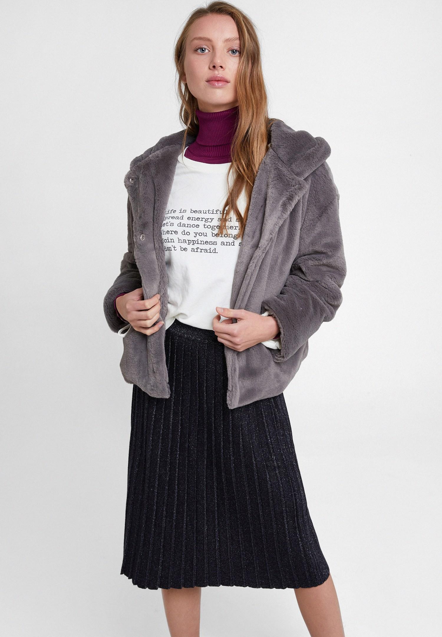 Bayan Gri Suni Kürk Kapüsonlu Ceket