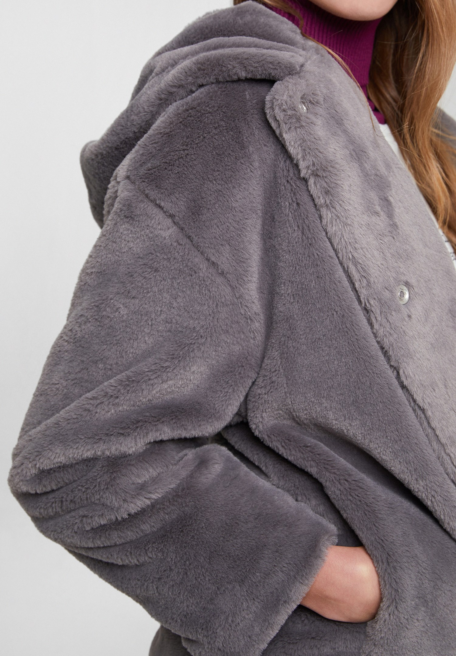 Women Grey Faux Fur Jacket with Hoodie
