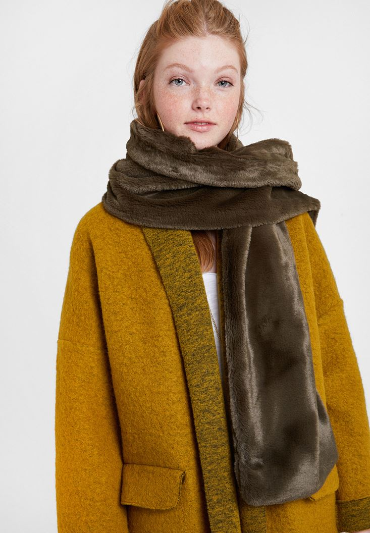 Green Soft Touch Faux Fur Shawl