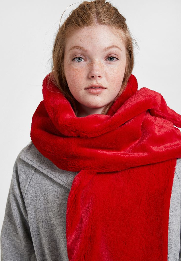 Red Soft Touch Faux Fur Shawl