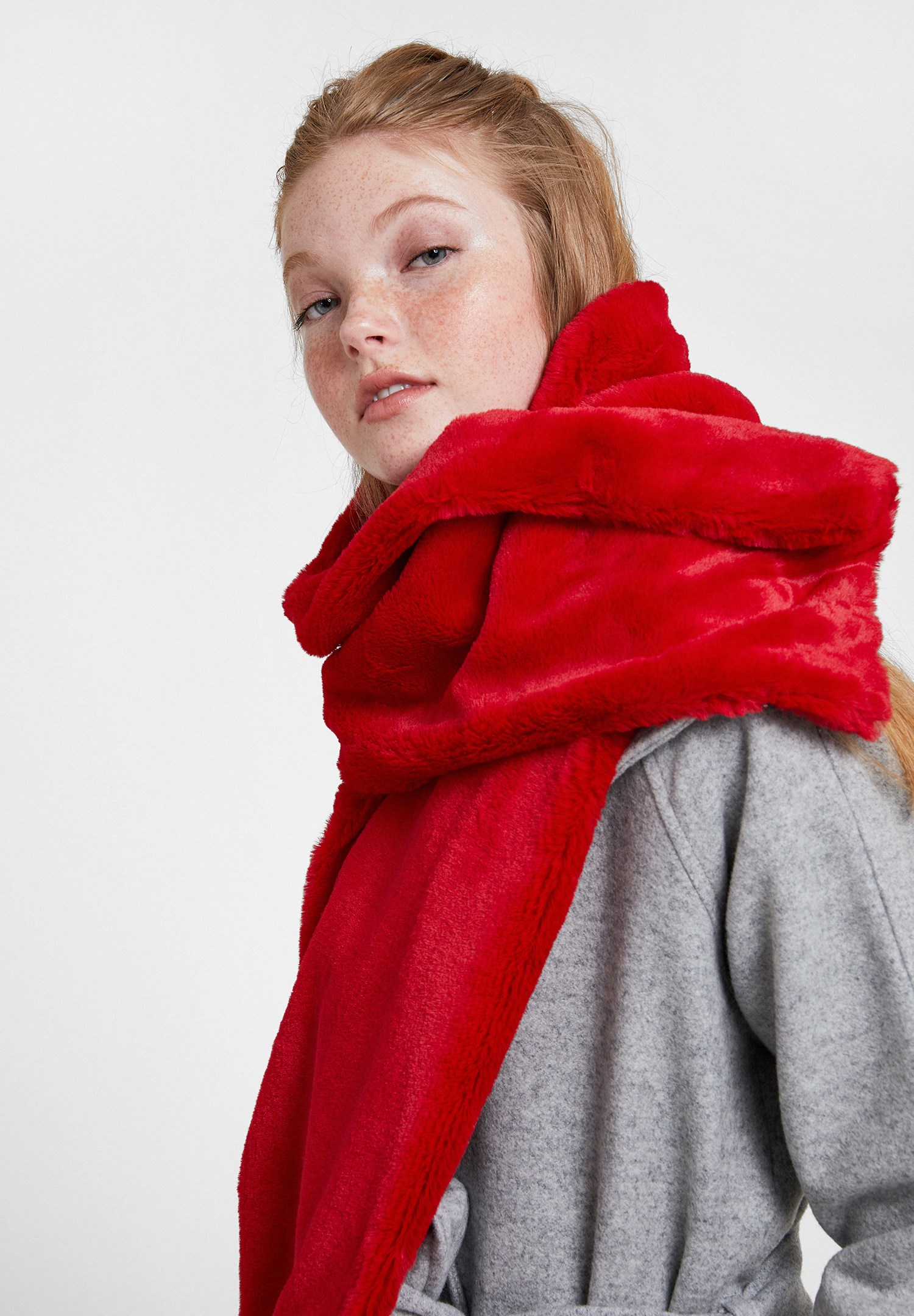 Women Red Soft Touch Faux Fur Shawl