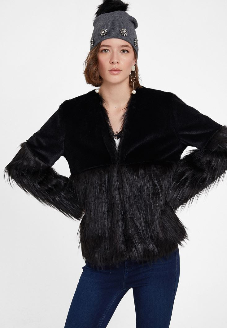 Black Long Sleeve Faux Fur Jacket