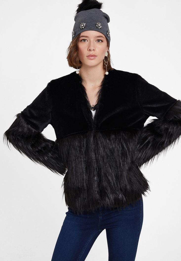 Long Sleeve Faux Fur Jacket