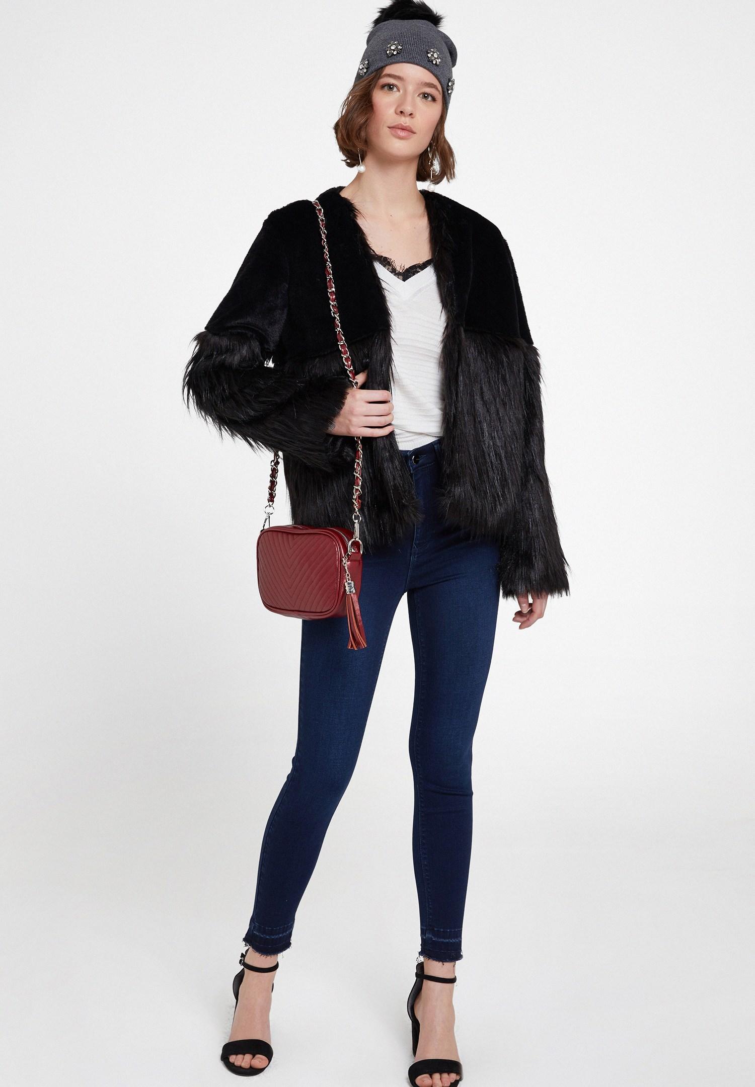 Bayan Siyah Suni Kürk Detaylı Kısa Ceket