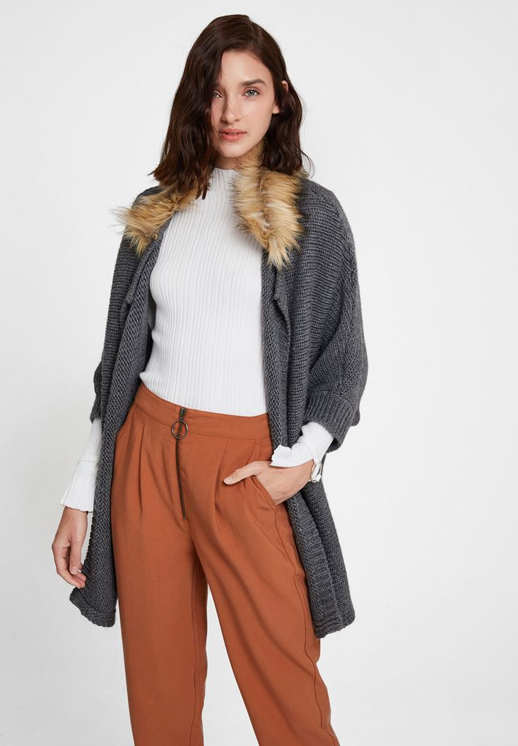Grey Cardigan with Fur Detail
