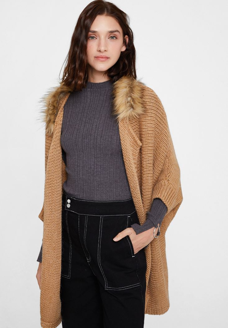 Brown Cardigan with Fur Detail