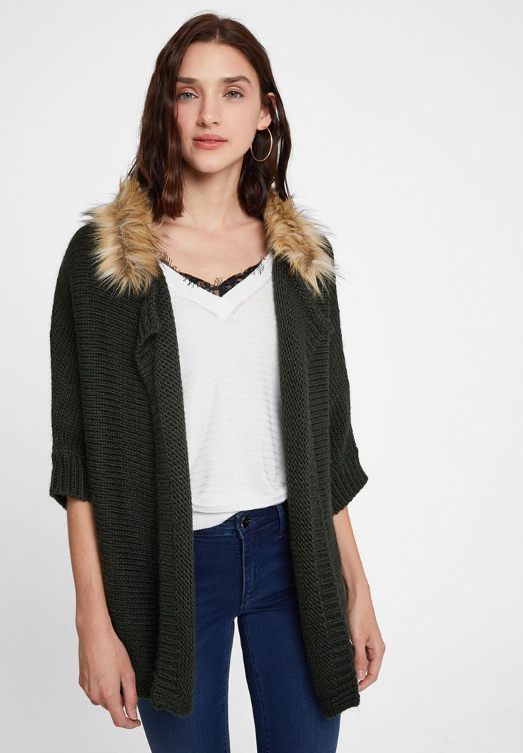 Green Cardigan with Fur Detail
