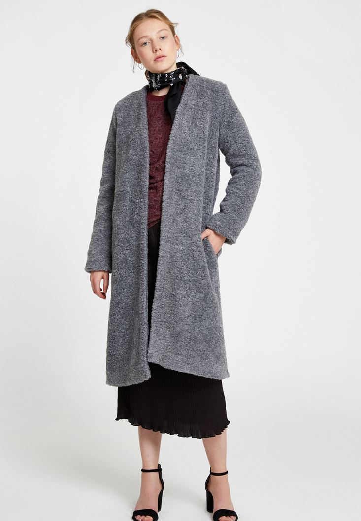 Grey Faux Fur Overcoat