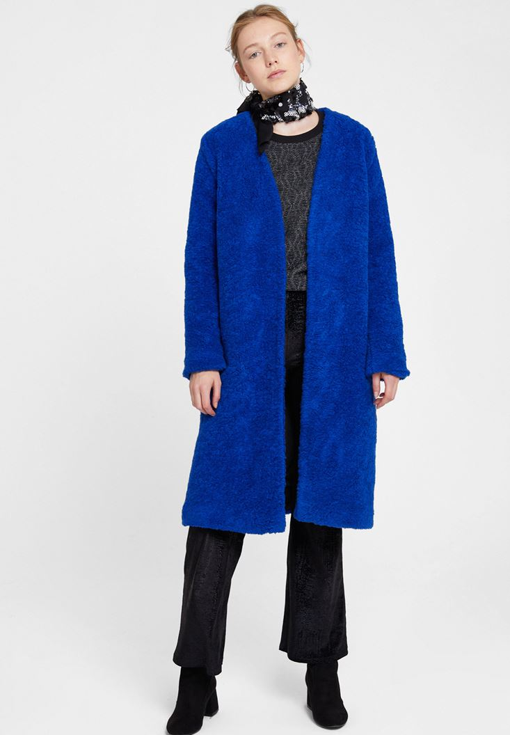 Navy Faux Fur Overcoat