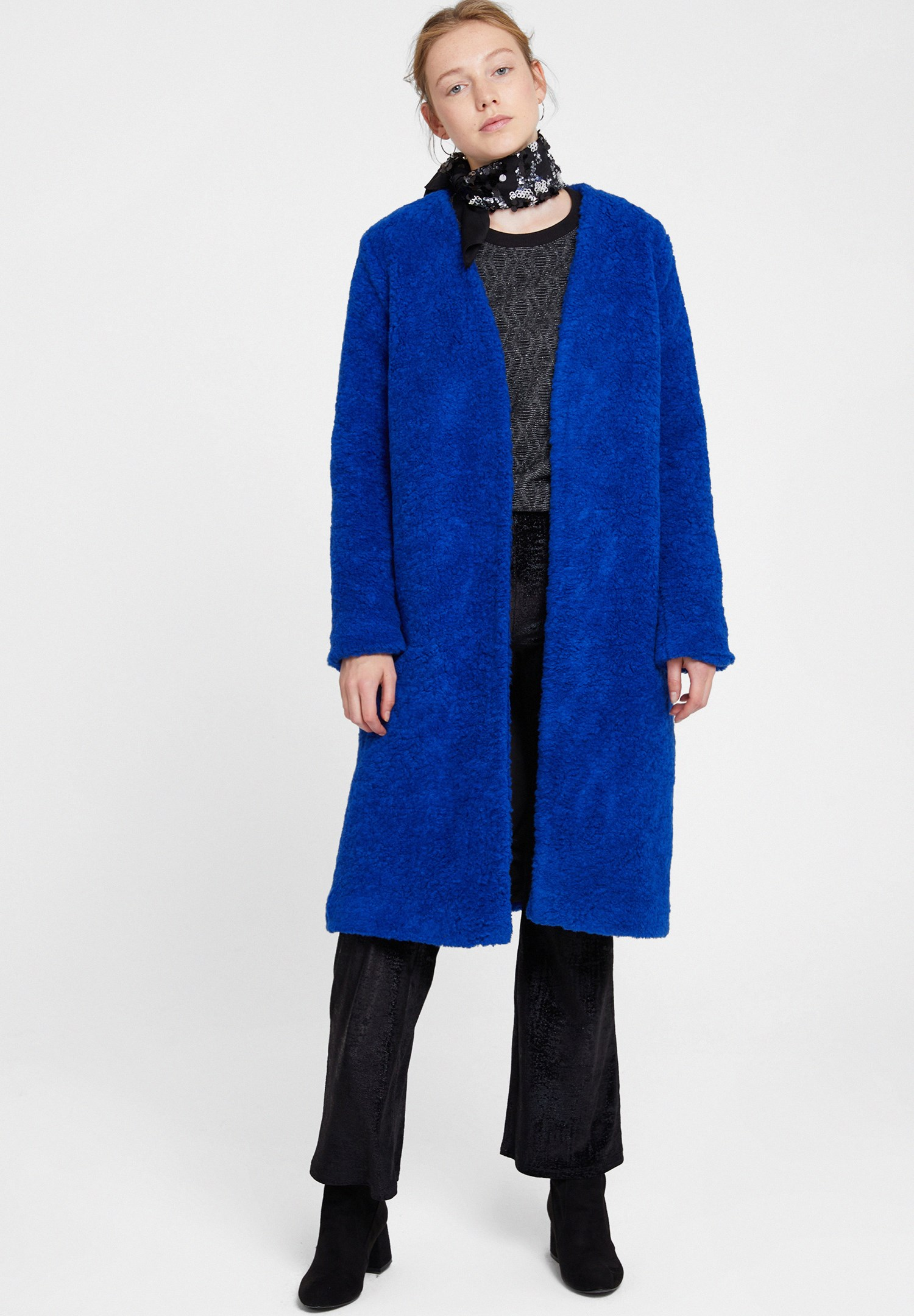 Women Navy Faux Fur Overcoat