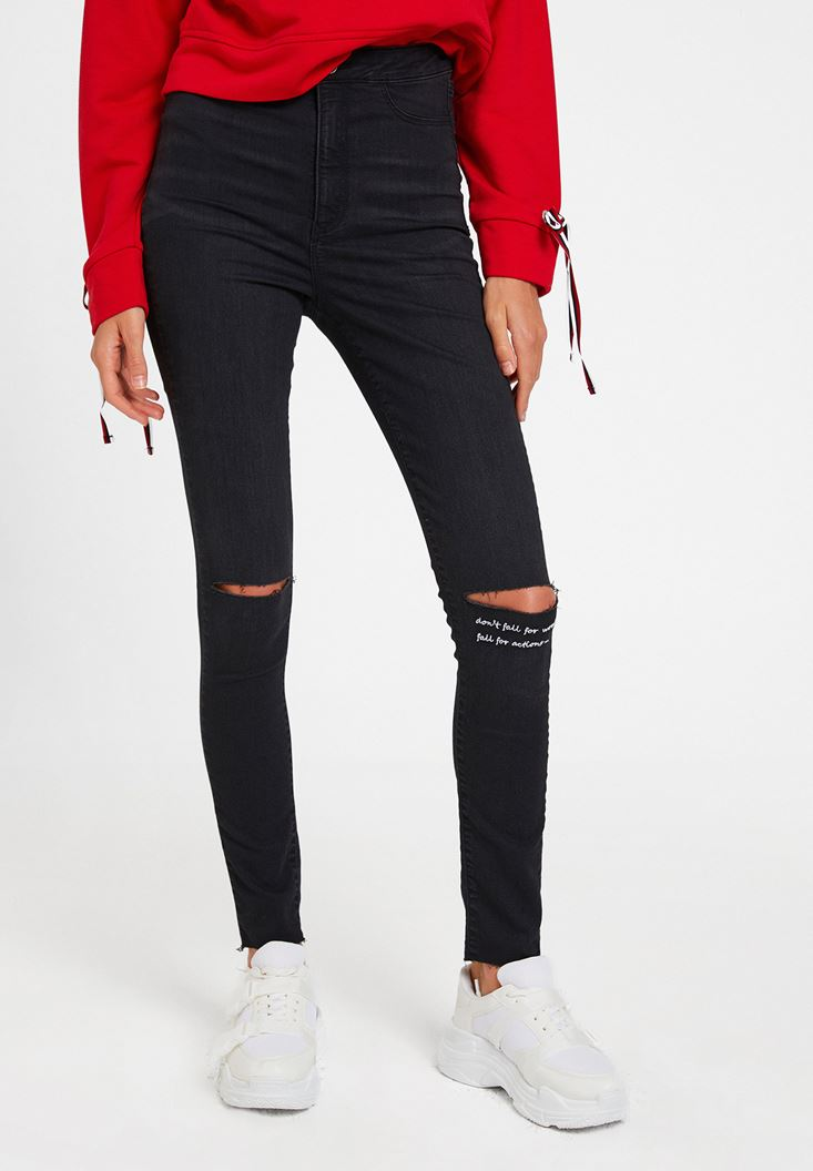 Siyah Yüksek Bel Slogan Detaylı Pantolon